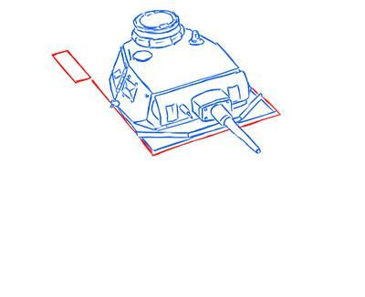 How to draw the superheavy tank the Mouse with a simple pencil step by step 8