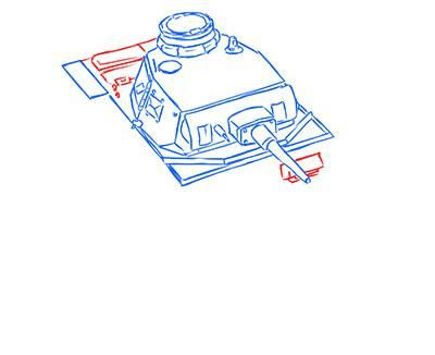 How to draw the superheavy tank the Mouse with a simple pencil step by step 9