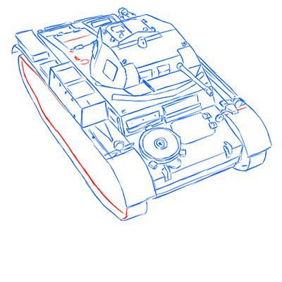 How to draw the prospecting German VK 1602 tank with a pencil 11