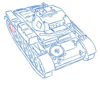 How to draw the prospecting German VK 1602 tank with a pencil 12