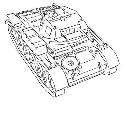 How to draw the easy German Pz.Kpfw tank. II simple pencil