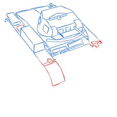How to draw the prospecting German VK 1602 tank with a pencil 7