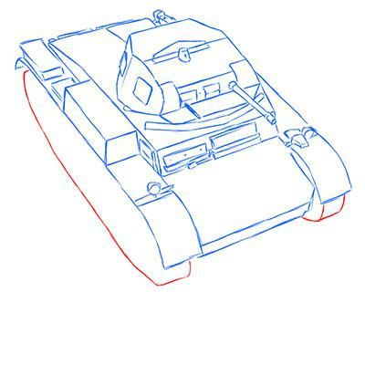 How to draw the prospecting German VK 1602 tank with a pencil 8