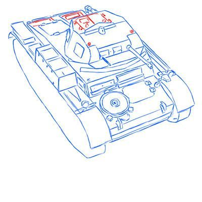 How to draw the prospecting German VK 1602 tank with a pencil 10