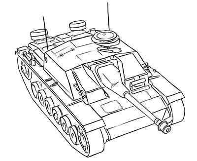 How to draw the German self-propelled and artillery StuG III installation