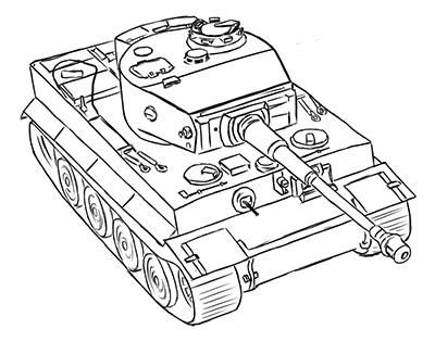 How to draw the German heavy tank the Tiger with a simple pencil