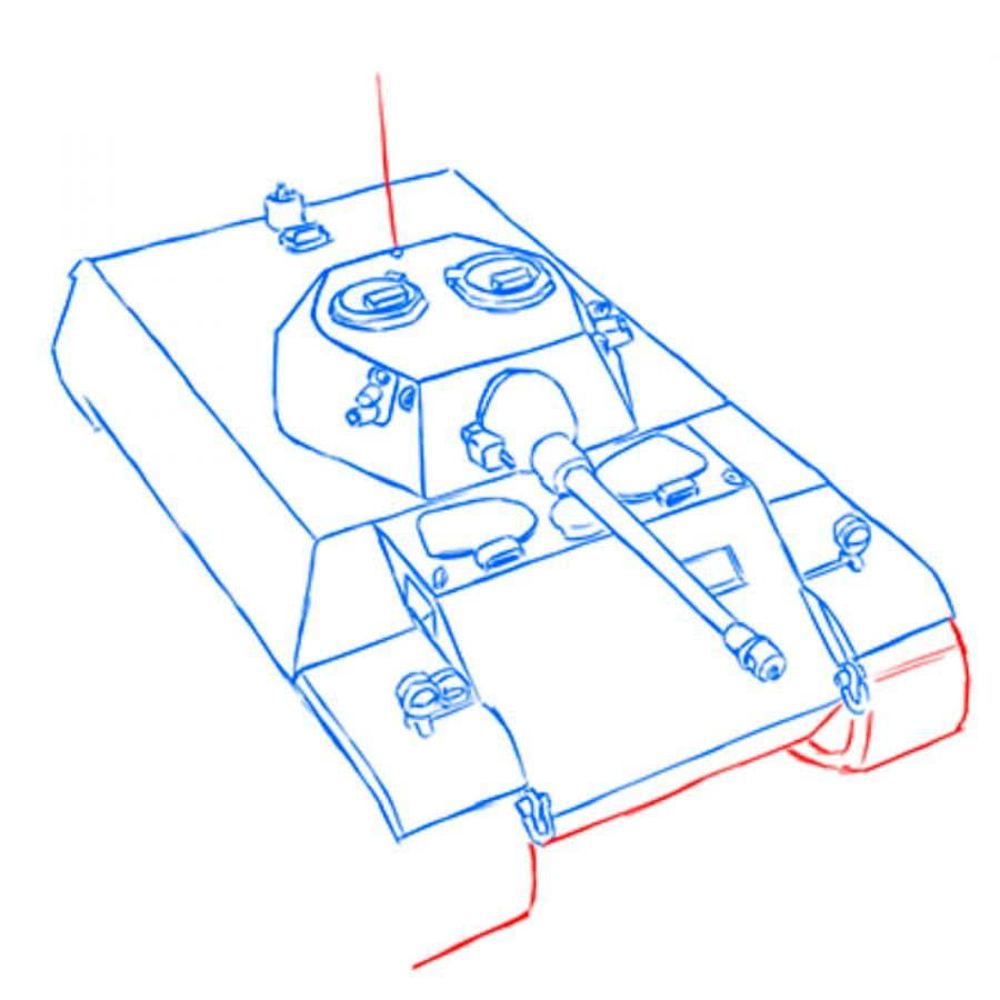 How to draw the Soviet heavy KV-2 tank with a pencil step by step 12