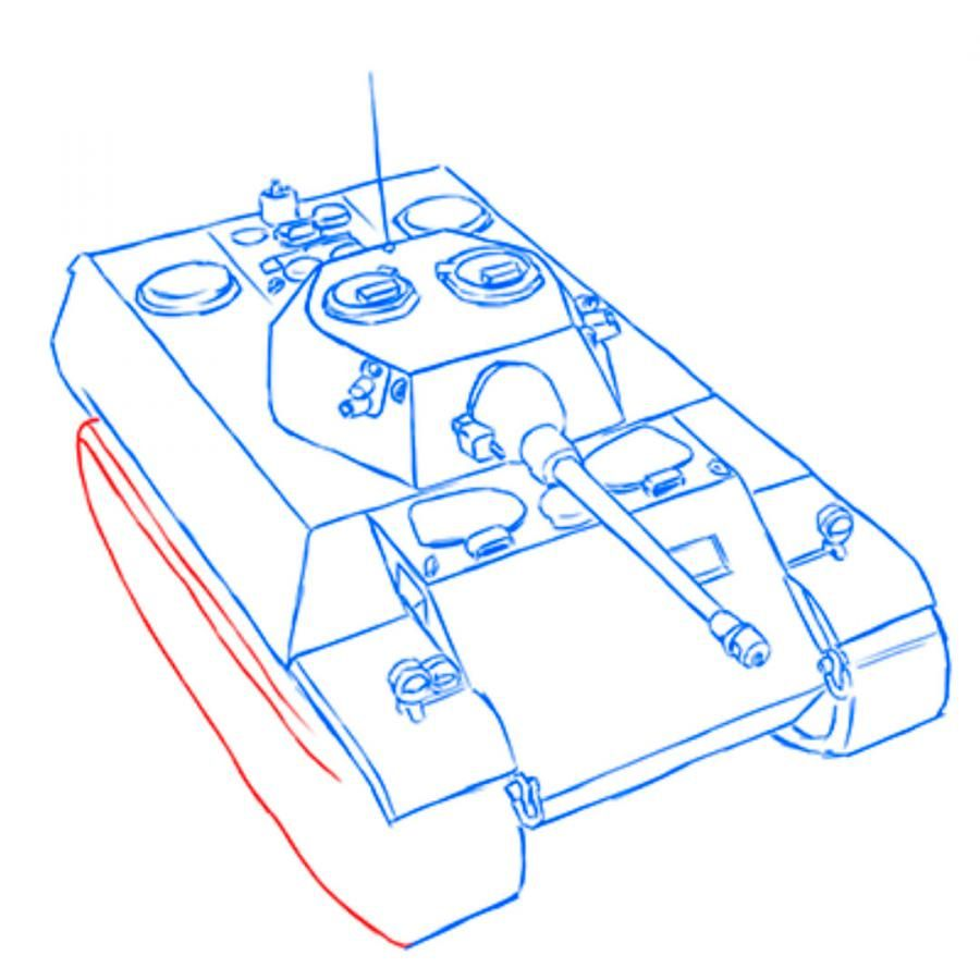 How to draw the Soviet heavy KV-2 tank with a pencil step by step 14