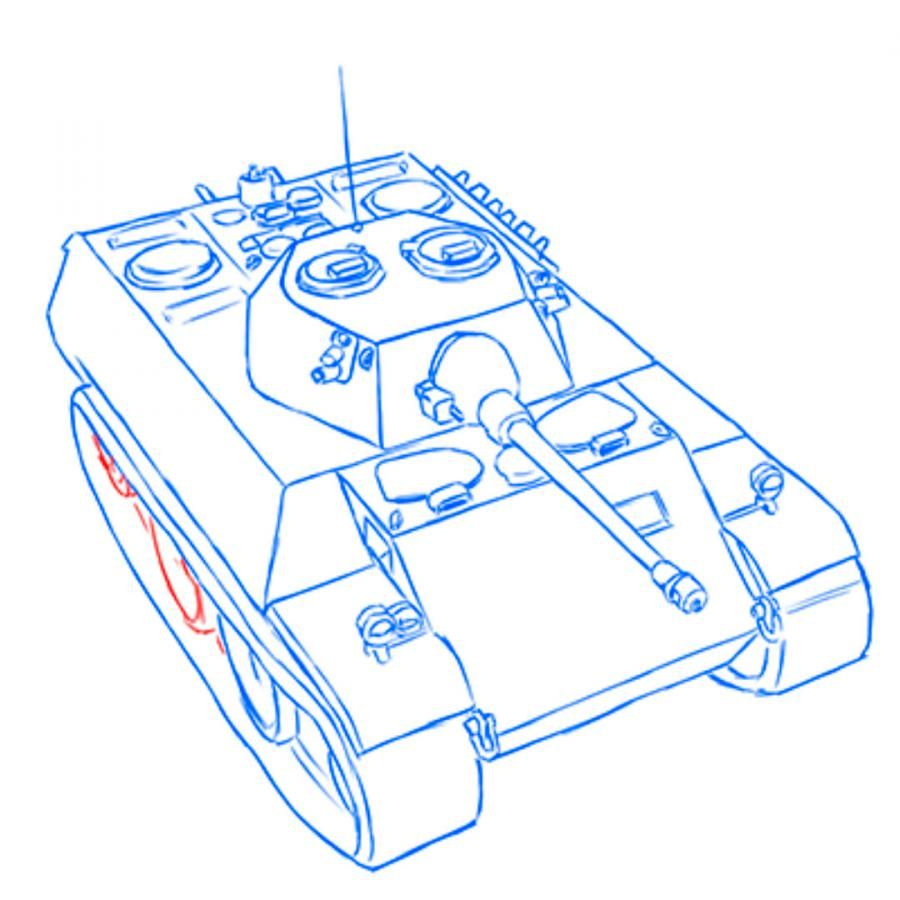 How to draw the Soviet heavy KV-2 tank with a pencil step by step 16