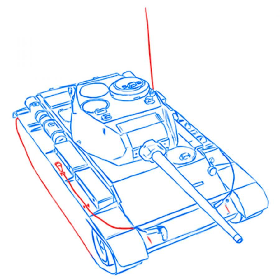 How to draw the heavy IS-3 tank with a simple pencil step by step 11