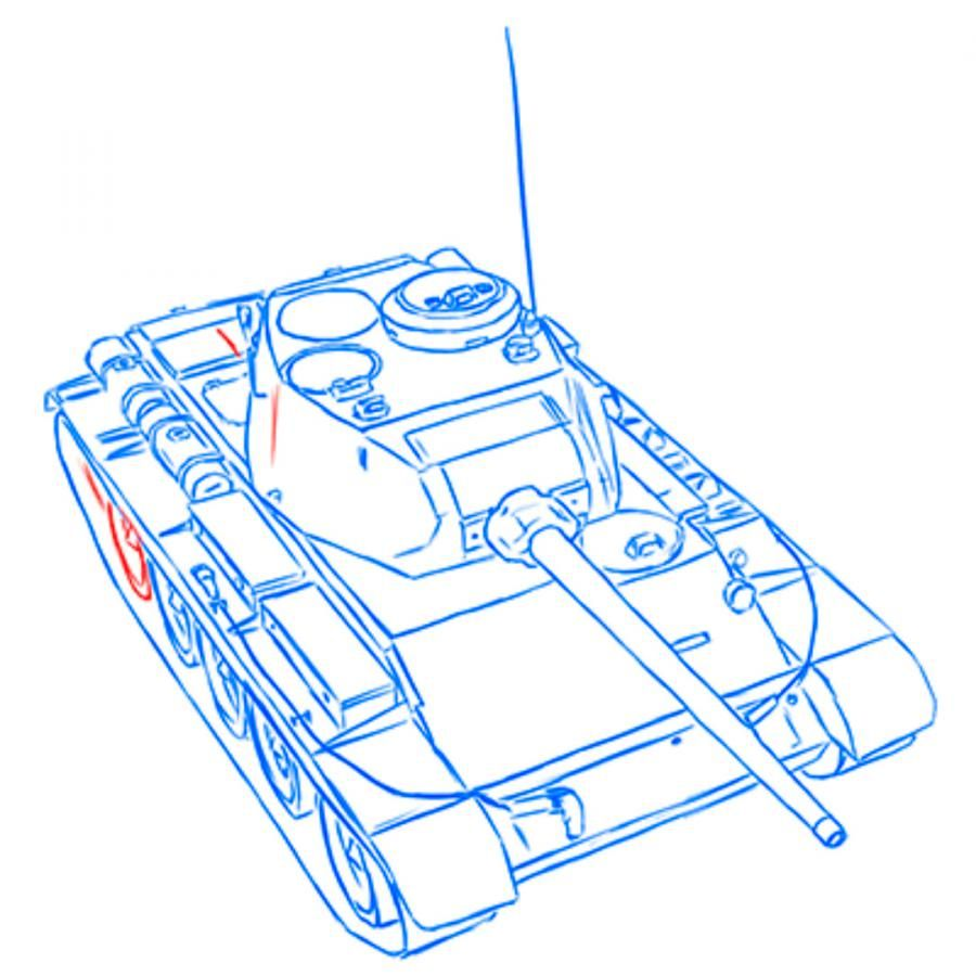 How to draw the heavy IS-3 tank with a simple pencil step by step 12