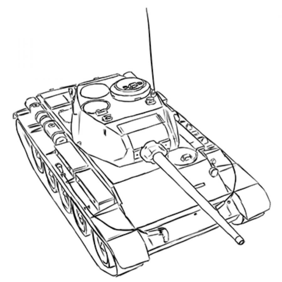 How to draw the Soviet average T-44 tank with a pencil step by step