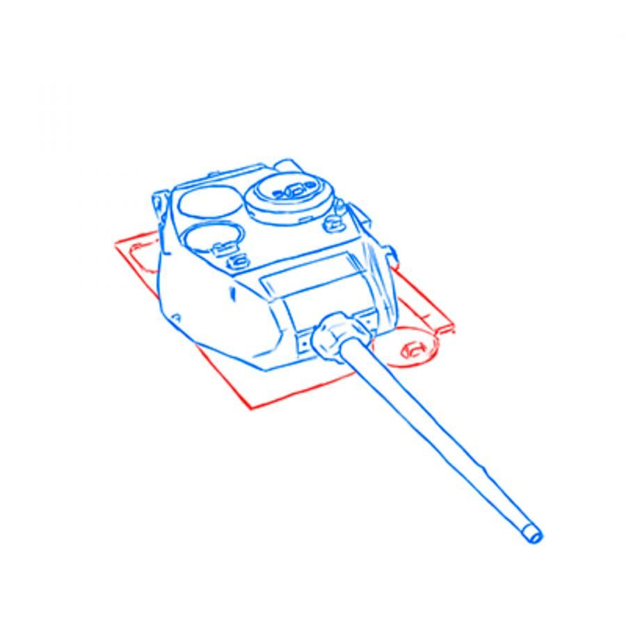 How to draw the heavy IS-3 tank with a simple pencil step by step 5