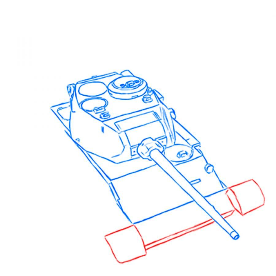 How to draw the heavy IS-3 tank with a simple pencil step by step 6