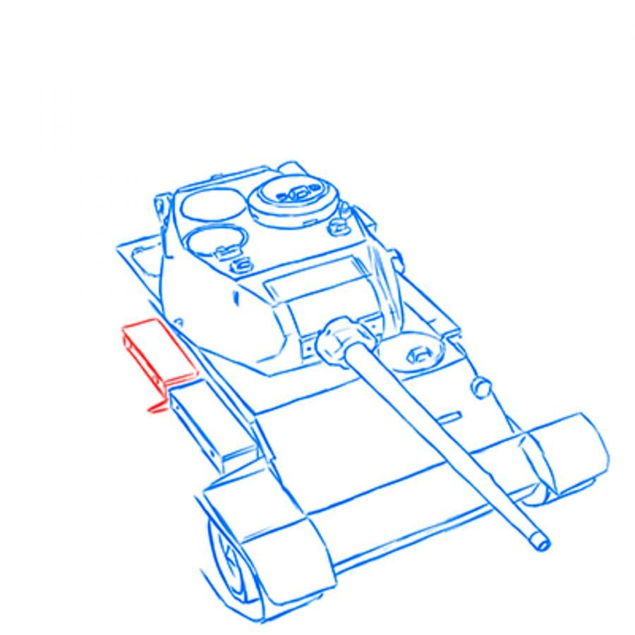 How to draw the heavy IS-3 tank with a simple pencil step by step 7