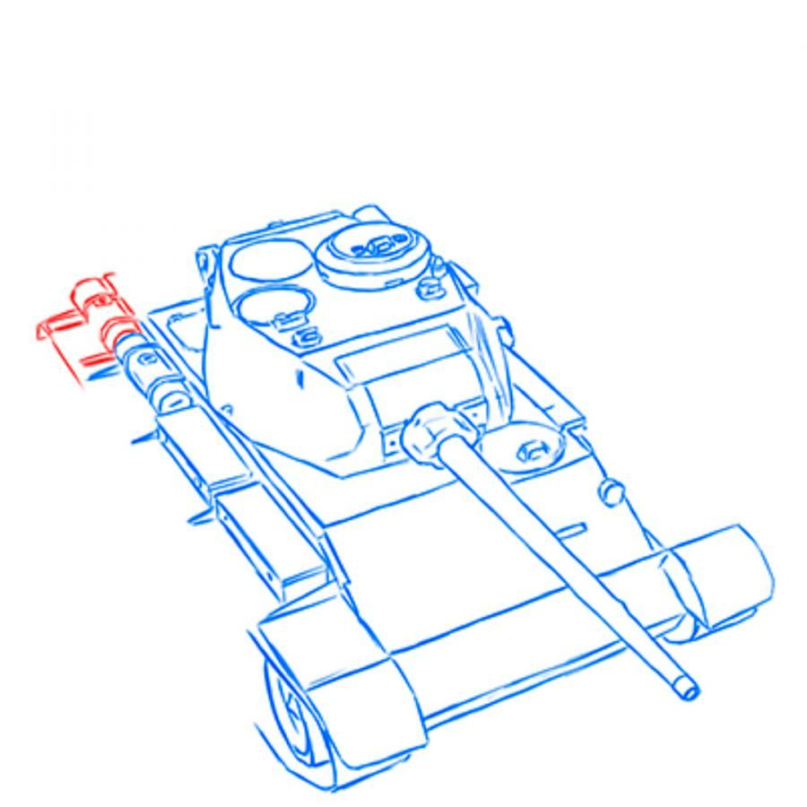 How to draw the heavy IS-3 tank with a simple pencil step by step 8