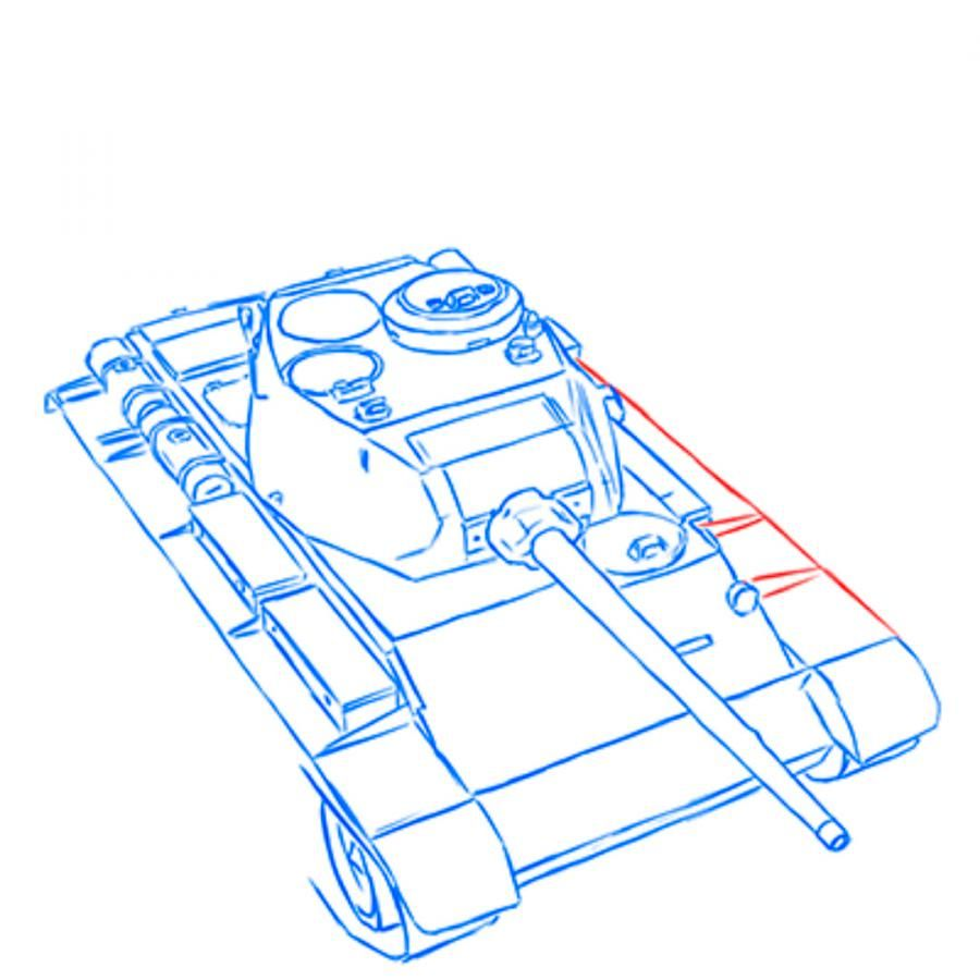 How to draw the heavy IS-3 tank with a simple pencil step by step 9