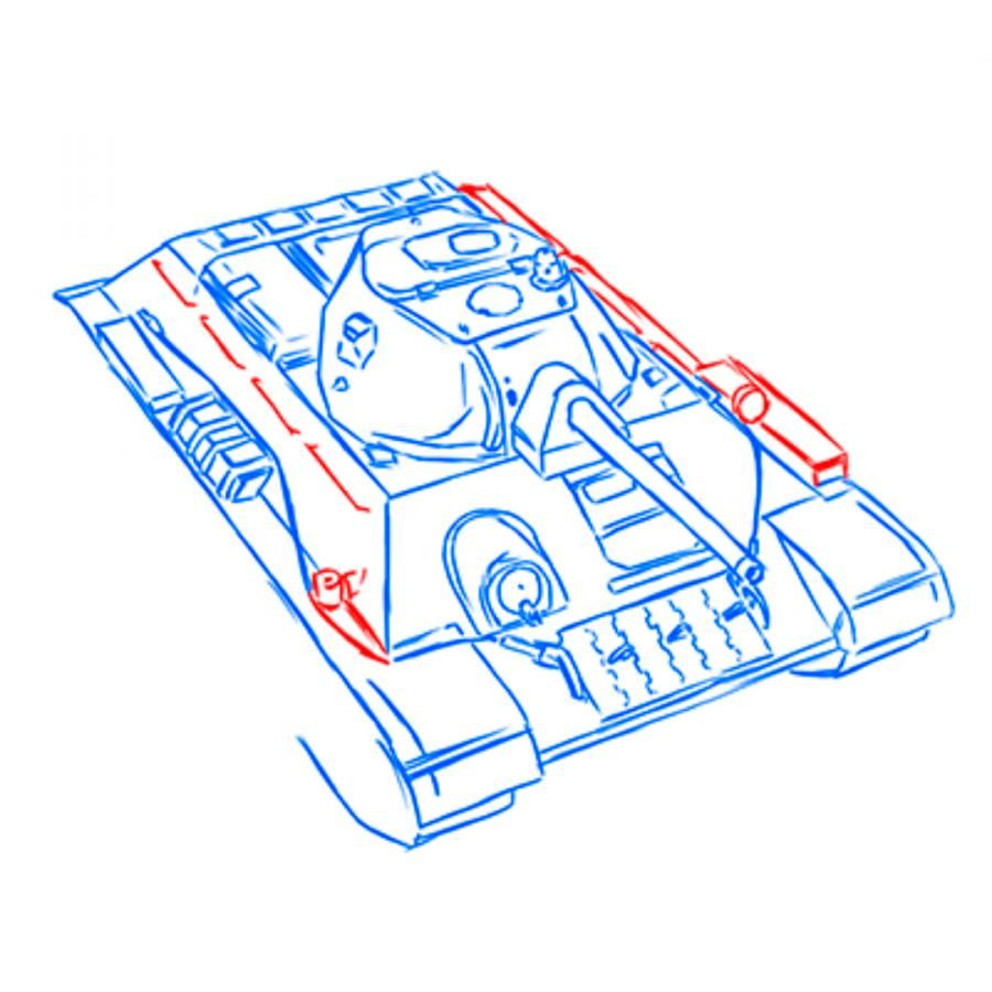 How to draw the SU-152 tank with a pencil step by step 13