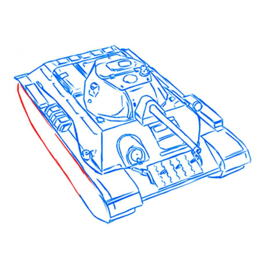 How to draw the SU-152 tank with a pencil step by step 14