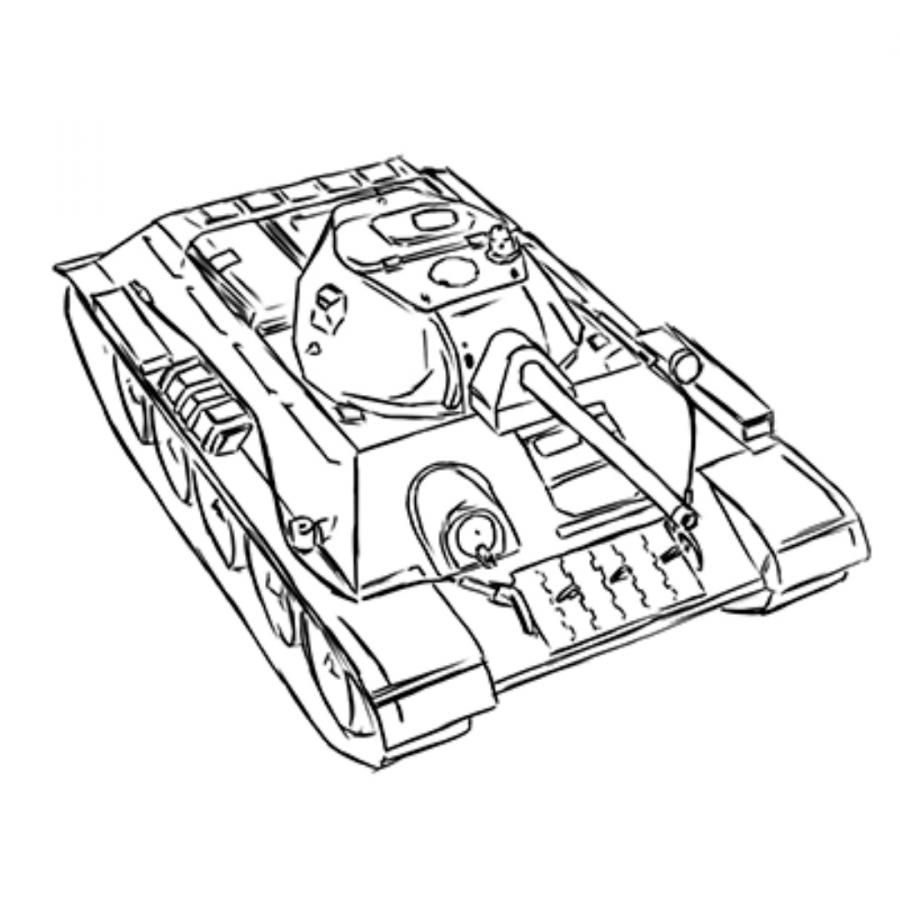 How to draw with a pencil the Soviet average T-34 tank
