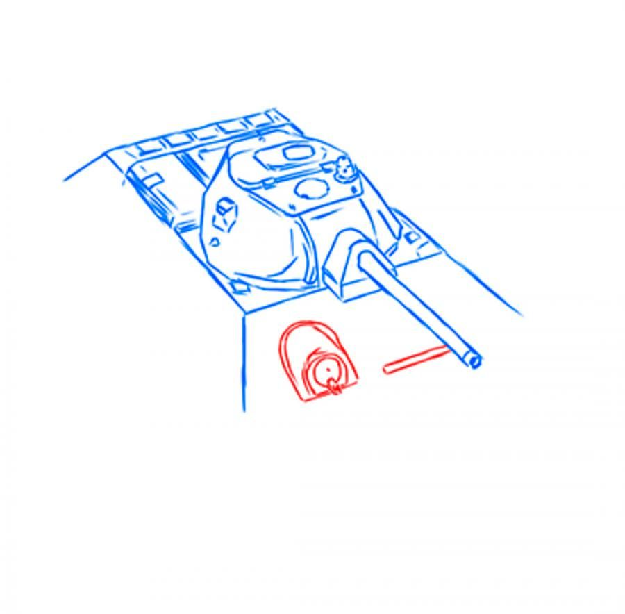 How to draw the SU-152 tank with a pencil step by step 8