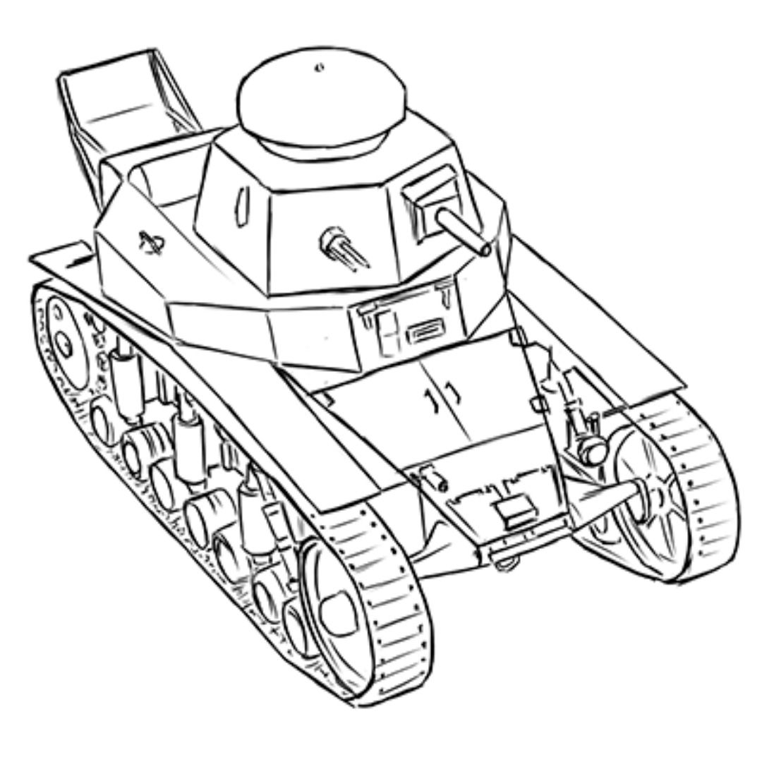 How to draw the Soviet easy MS-1 tank with a pencil step by step