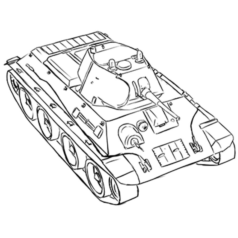 How to draw the Soviet easy A-20 tank with a pencil step by step