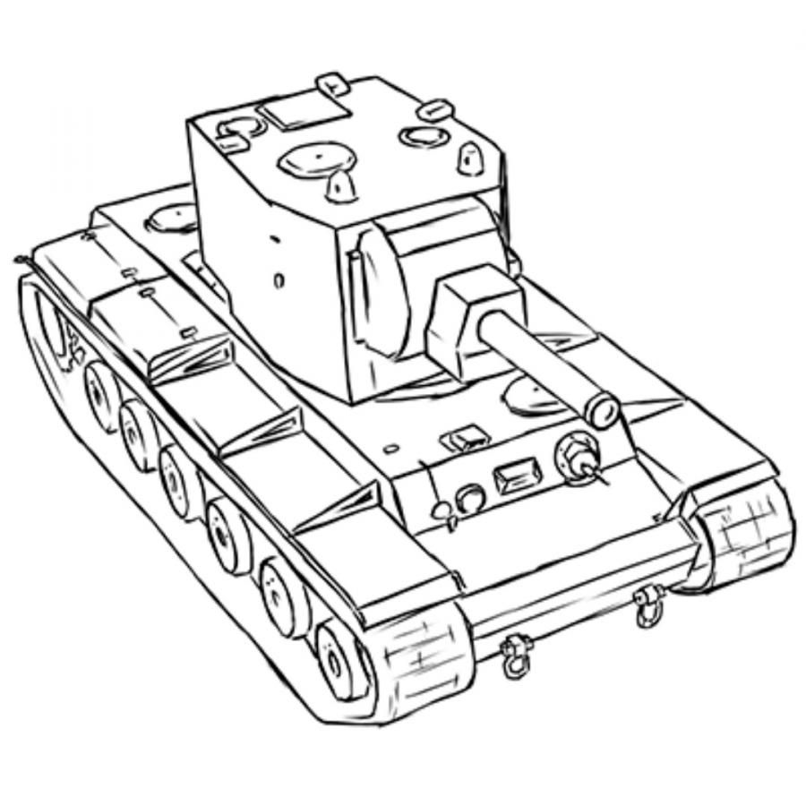 How to draw the Soviet heavy KV-2 tank with a pencil step by step