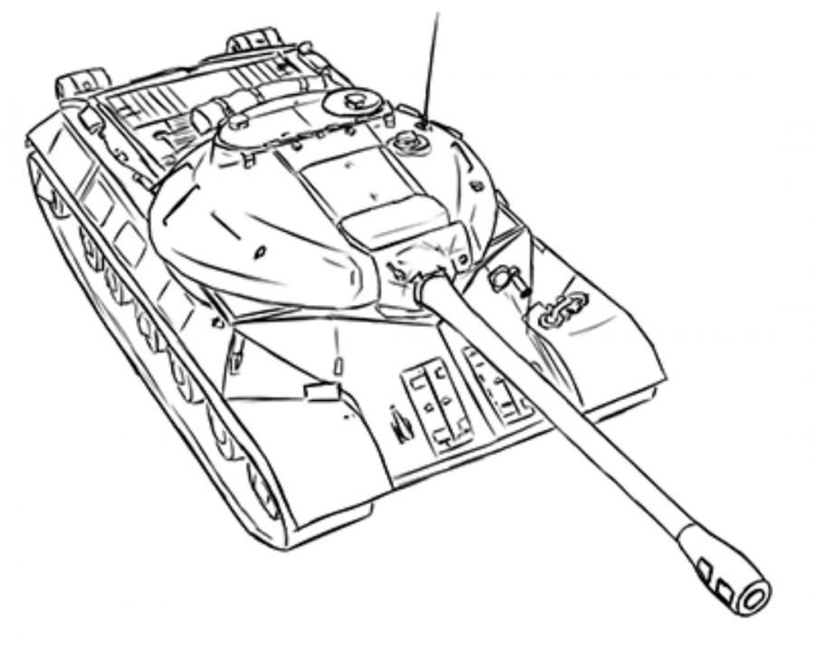 How to draw the heavy IS-3 tank with a simple pencil step by step