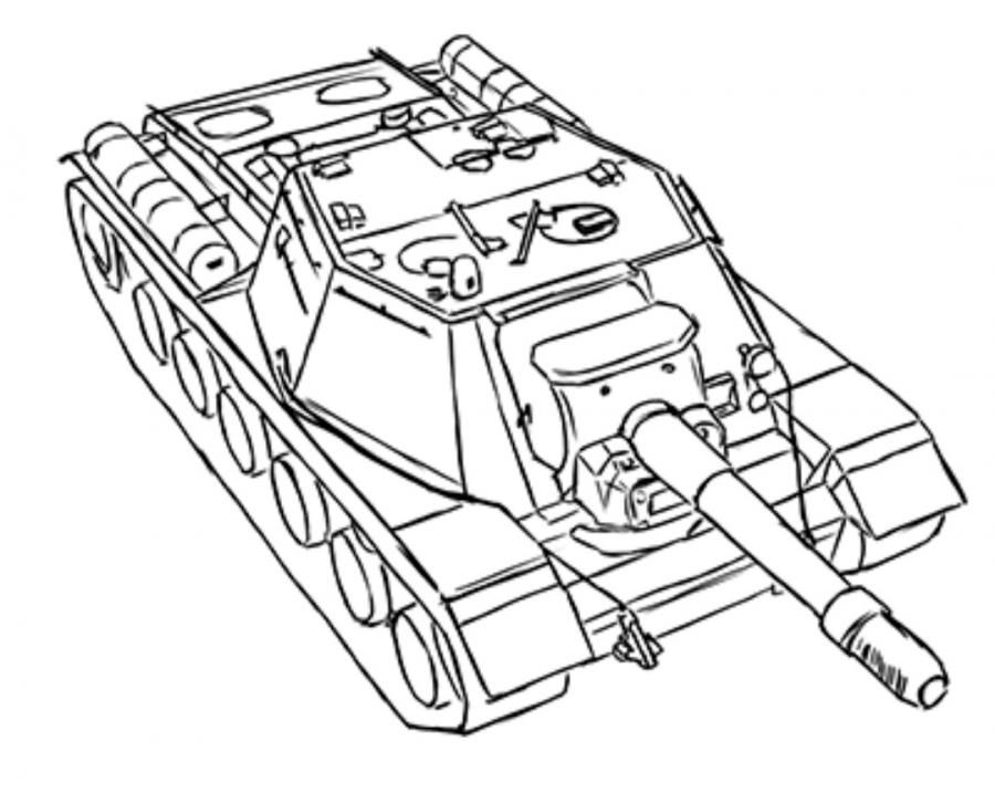 How to draw the SU-152 tank with a pencil step by step