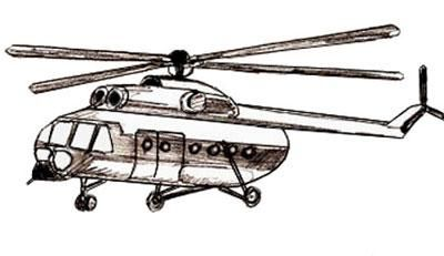 We learn to draw step by step the helicopter a pencil