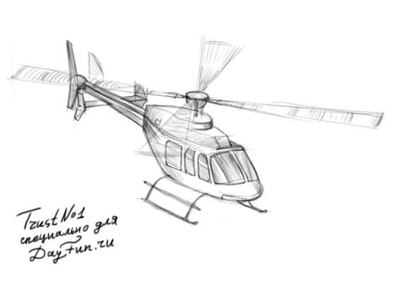 How to draw the helicopter with a simple pencil step by step