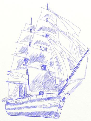 How to draw the big sailing ship with the handle or a pencil