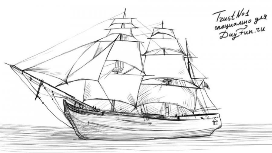 How to draw a sailing vessel with a simple pencil step by step