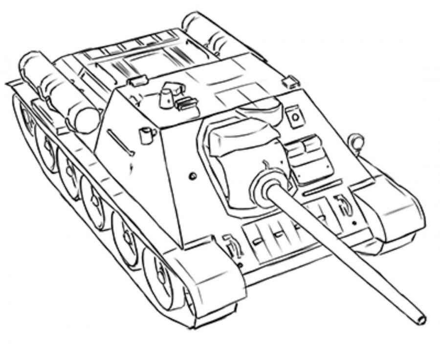 How to draw the SU-85 tank with a pencil step by step