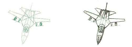 How to draw the F-111 bomber with a pencil step by step