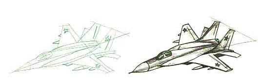 How to draw the fighter MIG-29 with a pencil step by step