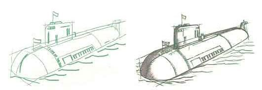 How to draw the nuclear Kursk submarine with a pencil