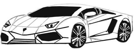 How to draw a sports car on paper with a pencil
