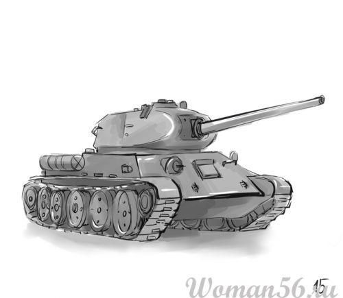 How to draw the T-34 tank on paper with a pencil step by step