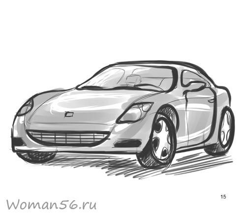 How to draw the car on paper a pencil