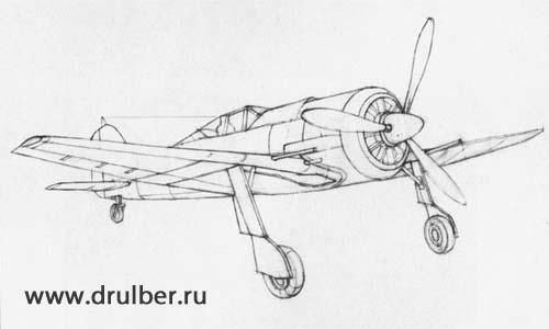 How to draw the Fokke-Woolf-190 plane with a pencil