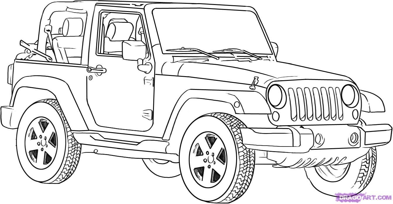 How to draw Jeep Wrangler with a pencil on paper