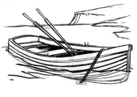 How to draw the wooden boat with a pencil step by step