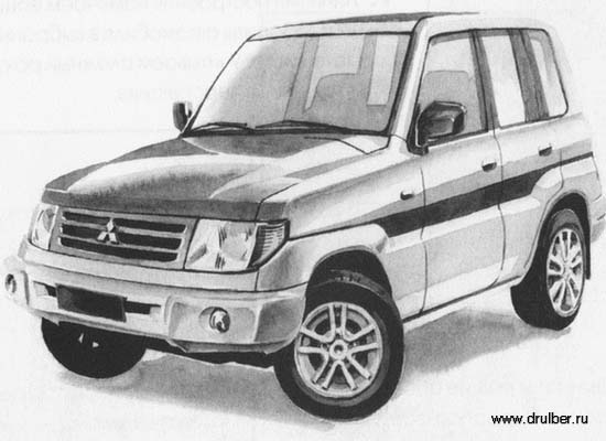How to draw the Mitsubishi Pajero Pinin car with a pencil step by step