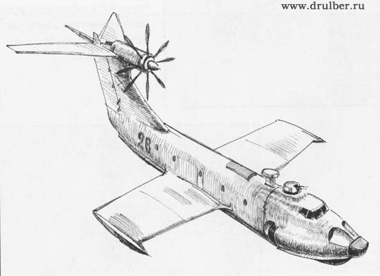 How to draw Ekranoplan with a pencil step by step