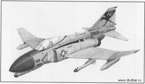 How to draw the fighter F-4 with a pencil step by step