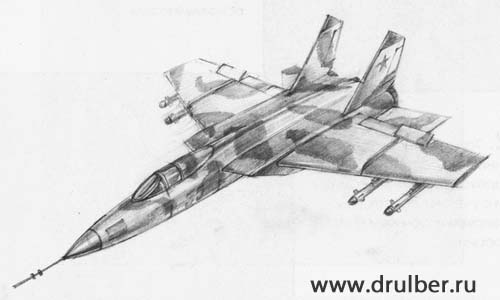 How to draw the plane MiG-25 with a pencil step by step