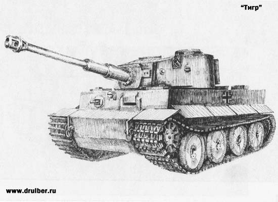 How to draw the tank the Tiger with a pencil step by step