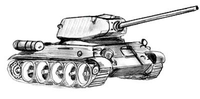 How to draw the T-34-85 tank with a pencil step by step